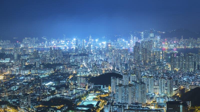 Aerial view of Hong Kong city at night stock images