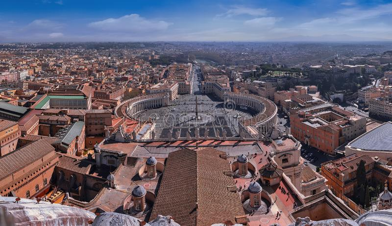 Panorama aerial view of Rome and St. Peter`s Square Piazza San Pietro from St. Peter`s Basilica Dome in Vatican City, Italy.  stock photography