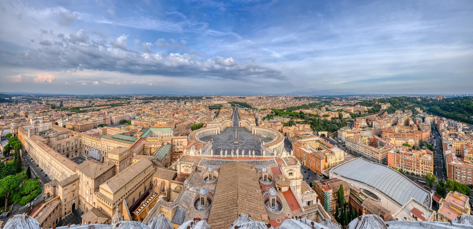 Panorama of Rome from top of the Vatican Dome in Italy stock image