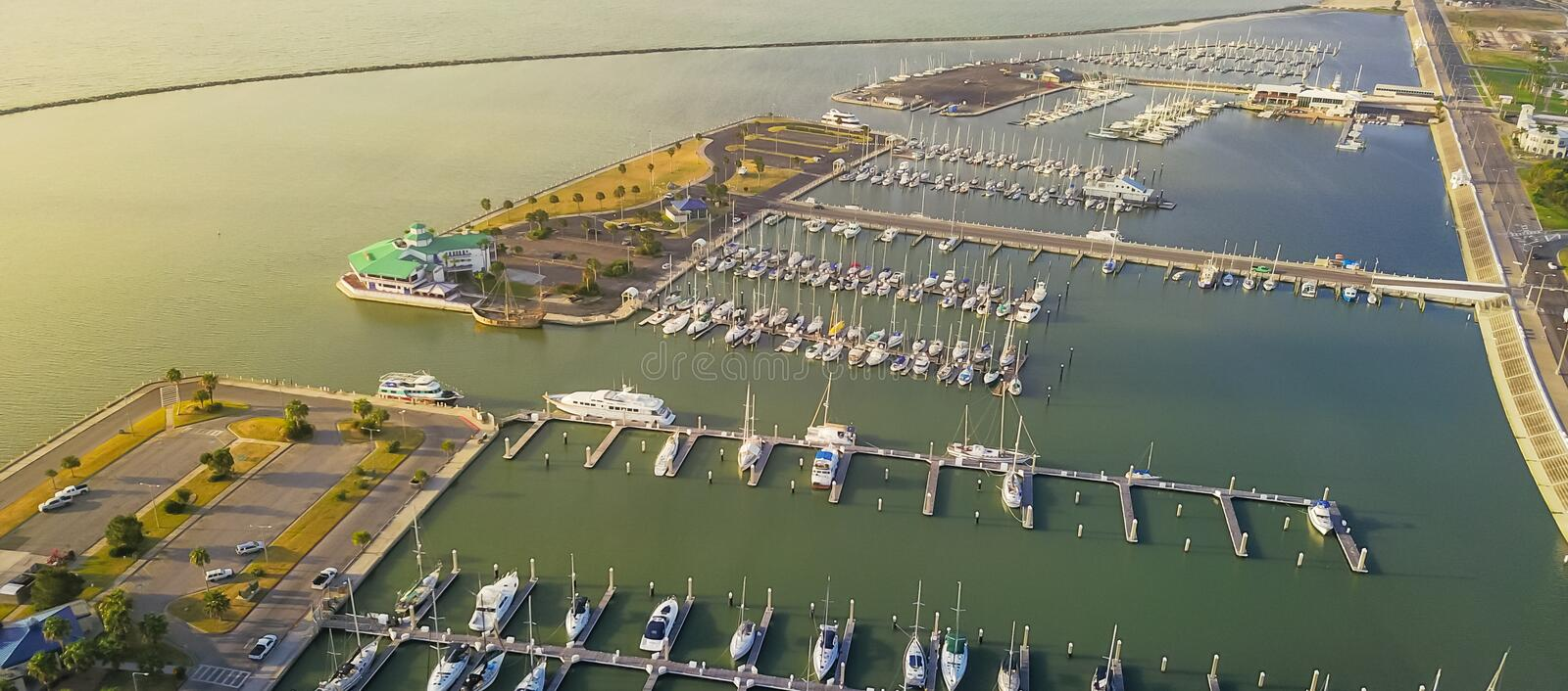 Panoramic view yacht parking in Corpus Christi, Texas bay front royalty free stock photos