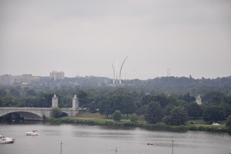 Panorama with Air Force Memorial and Potomac River from Washington District of Columbia USA royalty free stock image