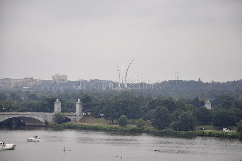 Panorama with Air force Memorial and Potomac River from Washington District of Columbia USA stock images
