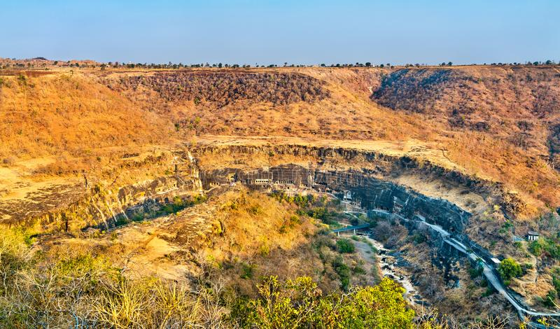 Panorama of the Ajanta Caves. UNESCO world heritage site in Maharashtra, India. Panoramic view of the Ajanta Caves. A UNESCO world heritage site in Maharashtra stock images