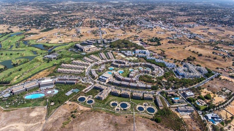 Panorama Albufeira antena w Algarve regionie, Portugalia, Salgados hotel zdjęcie royalty free
