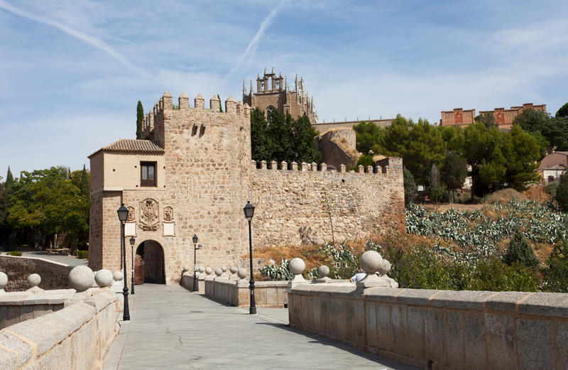 Panorama of the alcazar above the medieval San Martin bridge stock photo