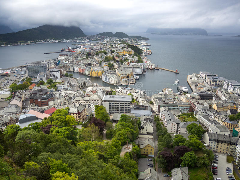 Panorama of Alesund Norway from Aksla royalty free stock photography