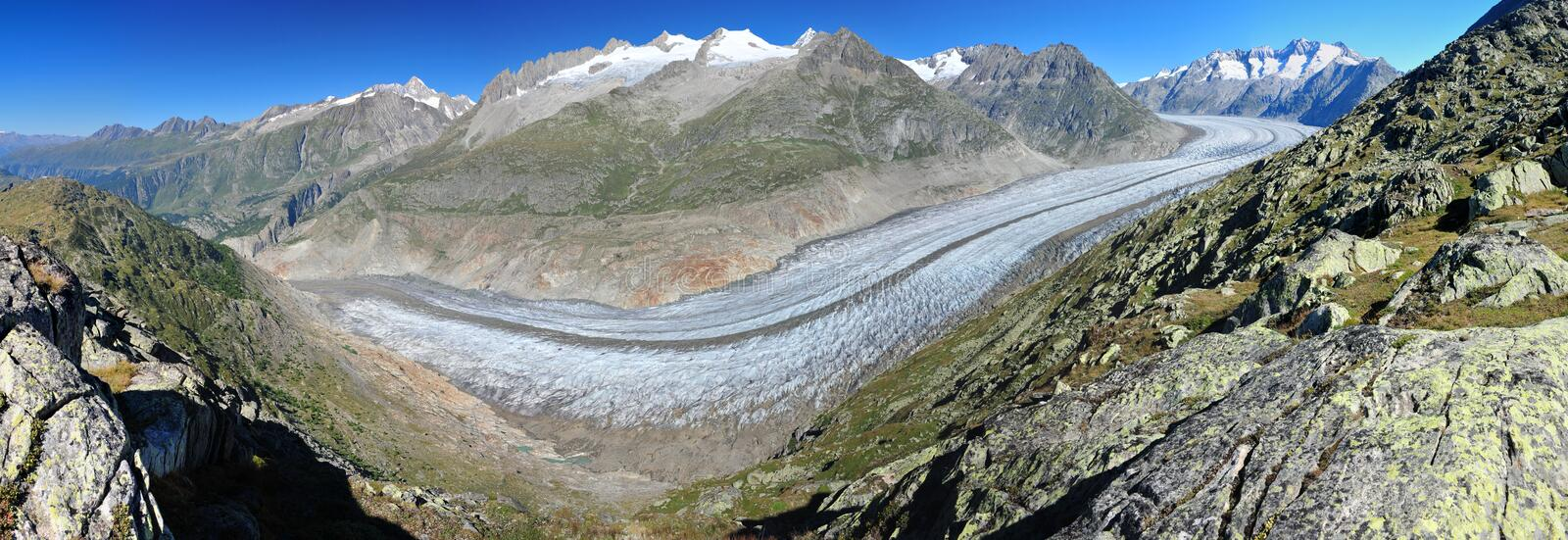 Download Panorama Of Aletsch Glacier And Summits Of Valais Stock Photo - Image of peaks, alpinism: 15744226