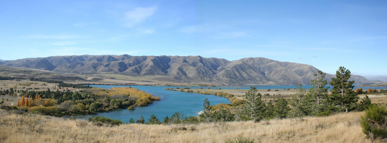 Panorama - Along the road to Mt Cook, New Zealand stock photos