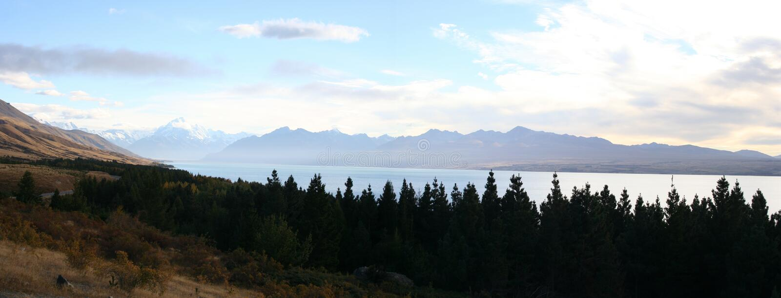 Panorama - Along the road to Mt Cook, New Zealand stock images