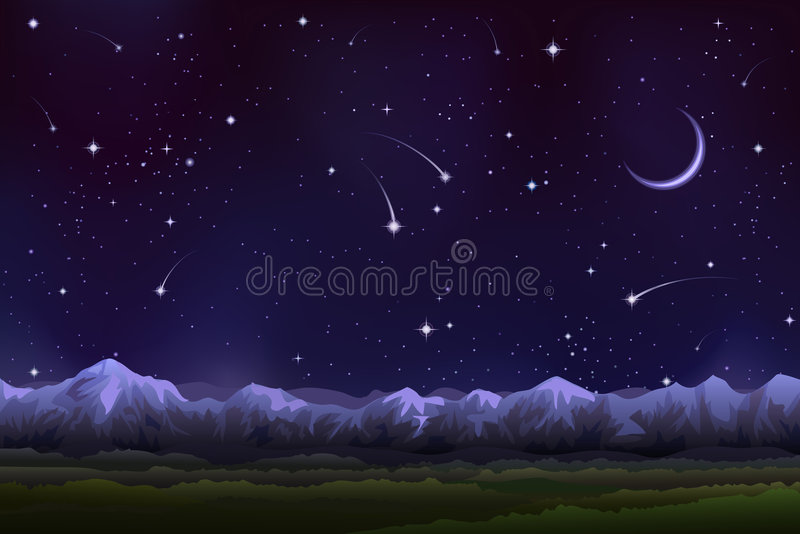 panorama alpestre de nuit illustration de vecteur