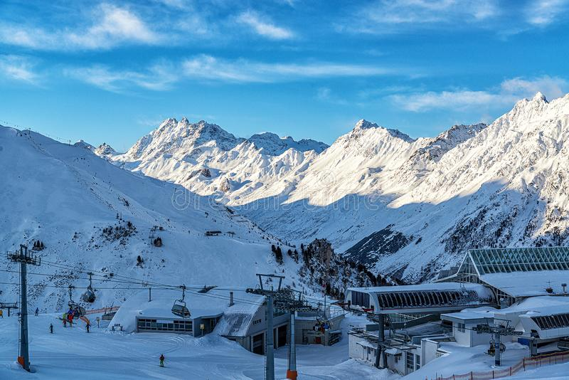 Panorama of the Alpine mountains in the evening at the ski resort of Ischgl, Austria.  stock images