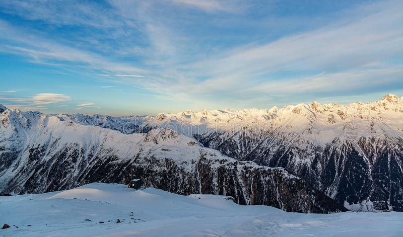 Panorama of the Alpine mountains in the evening at the ski resort of Ischgl, Austria.  royalty free stock photo