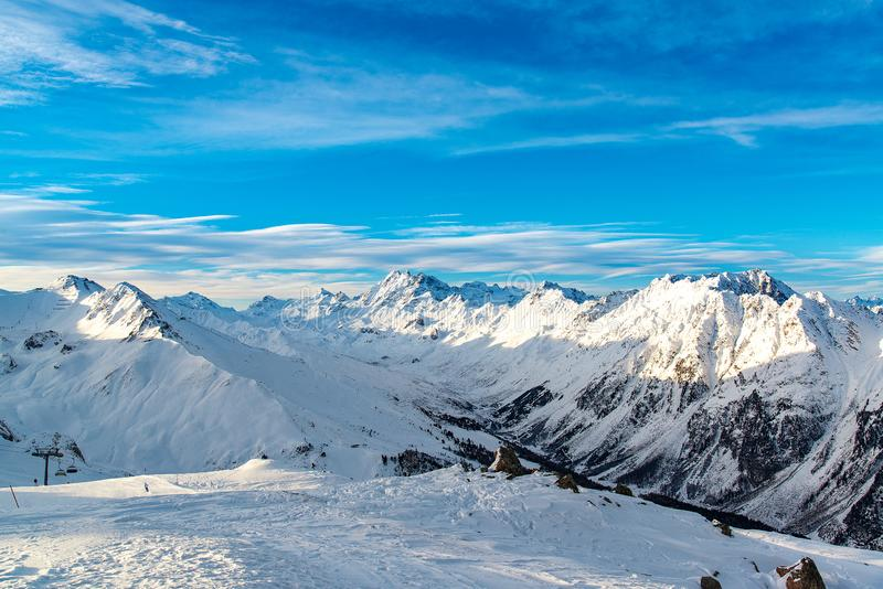 Panorama of the Alpine mountains in the evening at the ski resort of Ischgl, Austria. royalty free stock image