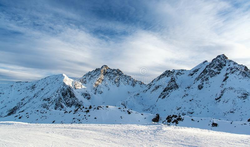 Panorama of the Alpine mountains in the evening at the ski resort of Ischgl, Austria. stock photography