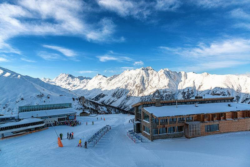 Panorama of the Alpine mountains in the evening at the ski resort of Ischgl, Austria.  royalty free stock photography
