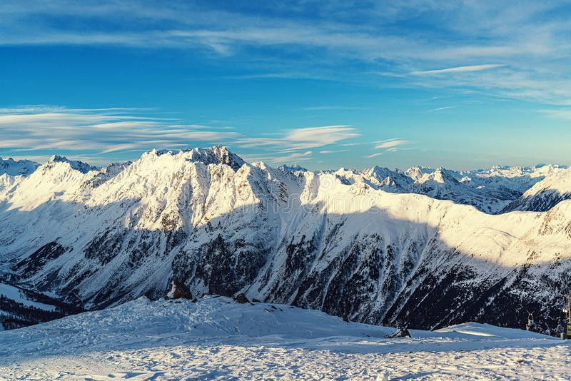 Panorama of the Alpine mountains in the evening at the ski resort of Ischgl, Austria.  royalty free stock images