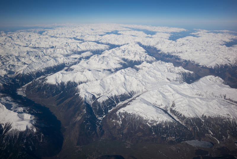 Panorama alpino dos aviões, imagens de stock royalty free