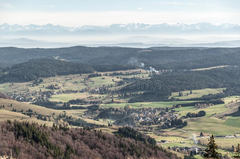 Panorama of the Alps from Black Forest stock photography