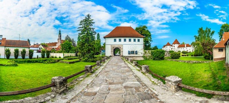 Panorama of ld Varazdin town. Panorama of amazing old town Varazdin in Northern Croatia, popular tourist resort stock photo