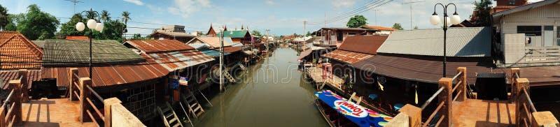 Panorama Amphawa. Amphawa Thailand boat market royalty free stock photos