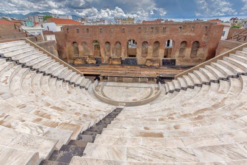 Panorama of Amphitheater in Roman Odeon, Patras, Peloponnese, Greece. Panorama of Amphitheater in Roman Odeon, Patras, Peloponnese, Western Greece royalty free stock photos