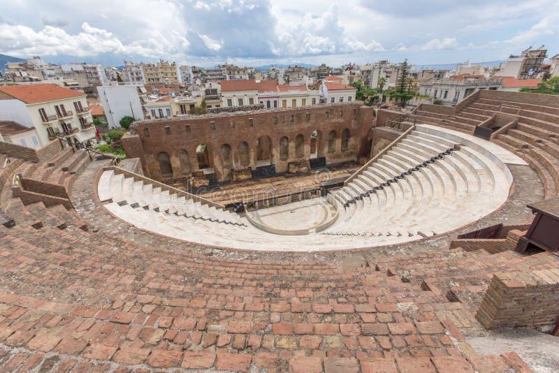 Panorama of Amphitheater in Roman Odeon, Patras, Peloponnese, Greece. Panorama of Amphitheater in Roman Odeon, Patras, Peloponnese, Western Greece royalty free stock image