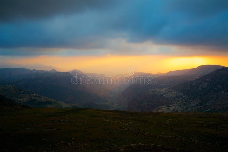 Panorama amplio adicional de Jordan Dana Biosphere Reserve foto de archivo