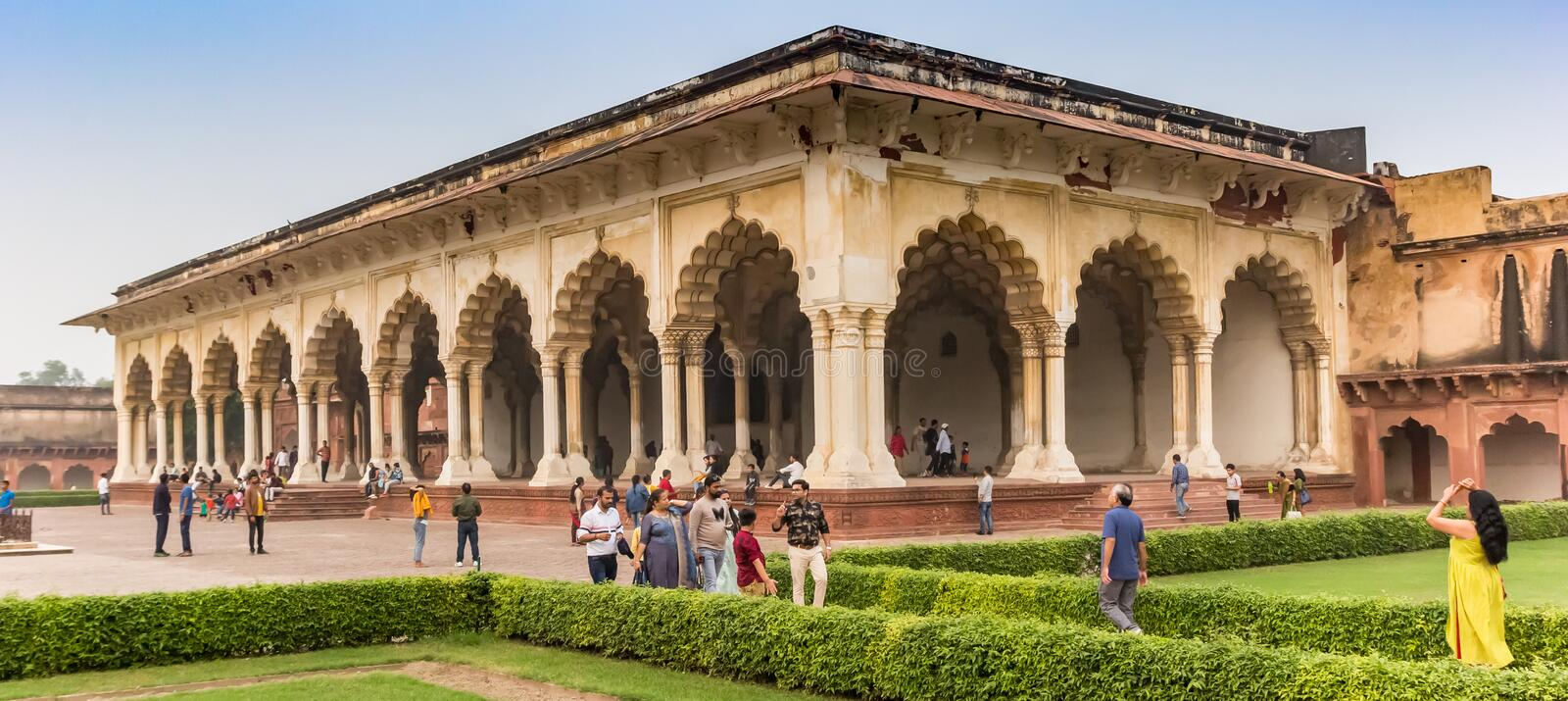 Panorama of the Anguri Bagh building in the Red Fort of Agra stock photos
