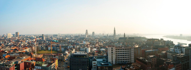 Panorama of Antwerp, Belgium royalty free stock photos