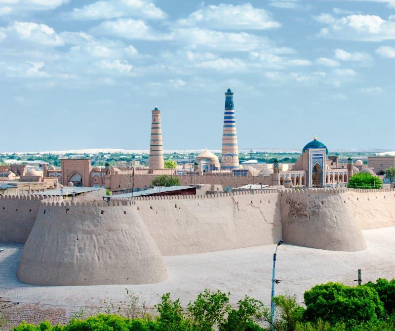 Panorama antyczny miasto Khiva, Uzbekistan zdjęcia stock