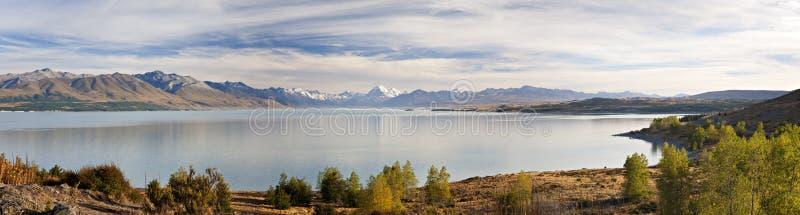 Panorama Aoraki góry Kucbarski i Jeziorny Pukaki, Nowa Zelandia obrazy royalty free