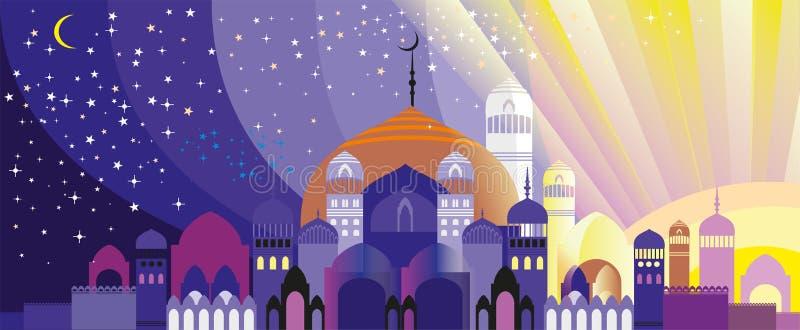 Panorama of Arabian city. Panorama of silhouette of fabulous Arabian city. Palace at sunset and sunrise vector illustration