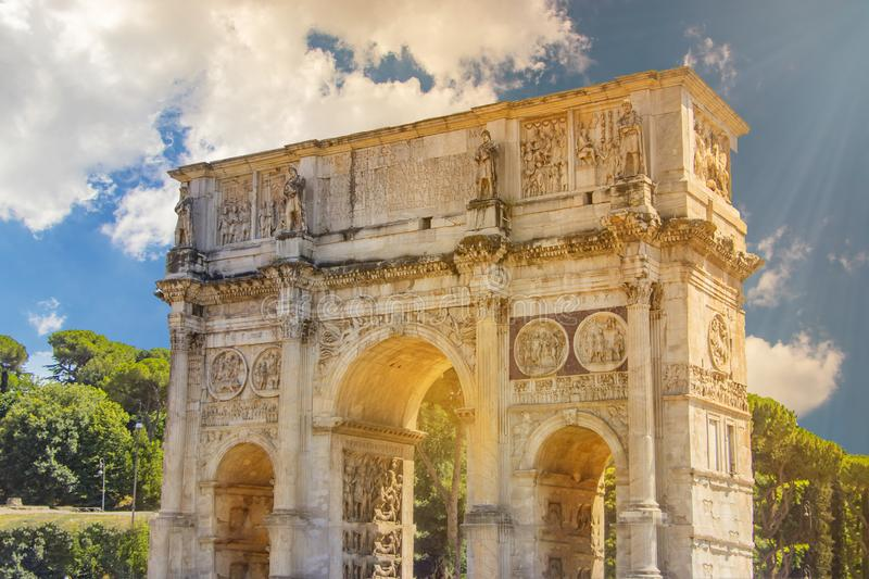 Panorama of the Arch of Constantine and the Colosseum in the morning sun stock photo