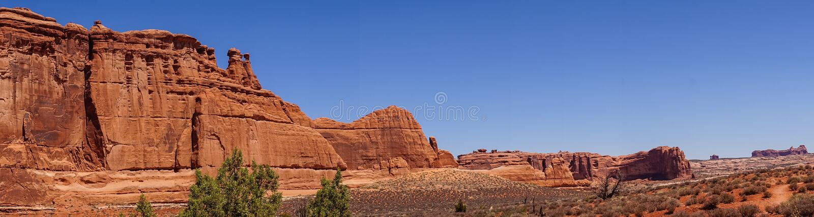 Panorama of the Arches National Park, Utah. Desert Southwest USA. Desert Moab, Utah, Southwest of the USA. Nature of the Arches National Park. Erosion of stone stock image