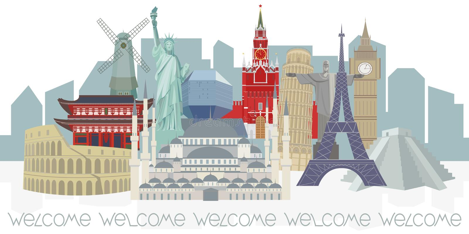 Panorama with architectural world landmarks. vector illustration