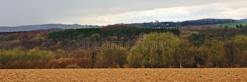 Panorama- Ardennes landskap, med tomma vinterjordbruksmark och skogar och kullar på en regnig dag med mörka moln arkivbilder