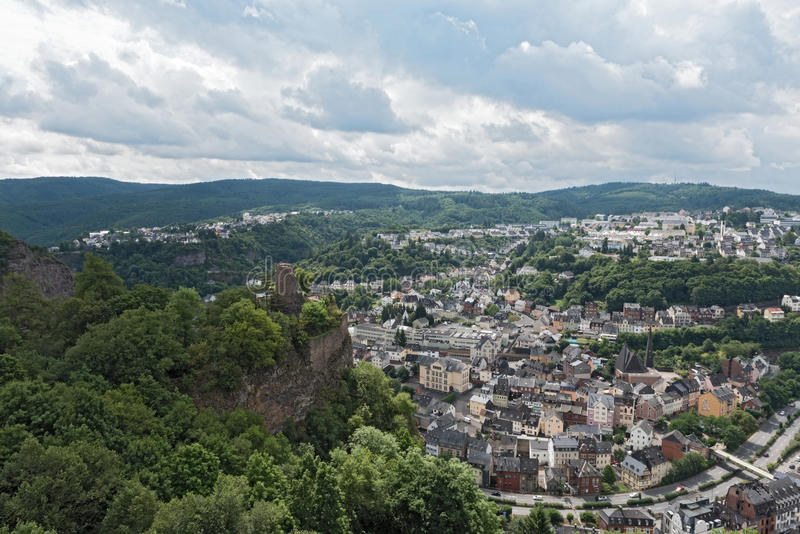 Panorama arial view of Idar-Oberstein in Rhineland-Palatinate, Germany.  stock photography