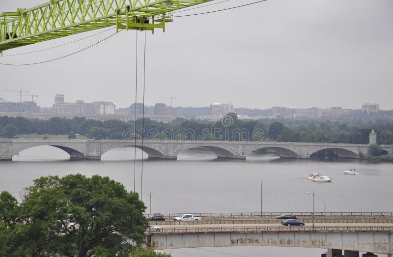 Panorama with Arlington Memorial Bridge from Washington District of Columbia USA royalty free stock photography