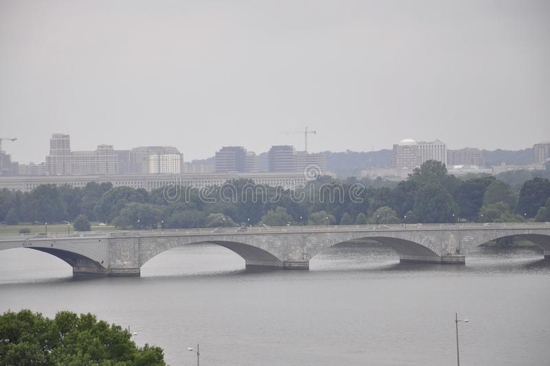 Panorama with Arlington Memorial Bridge from Washington District of Columbia USA stock photo