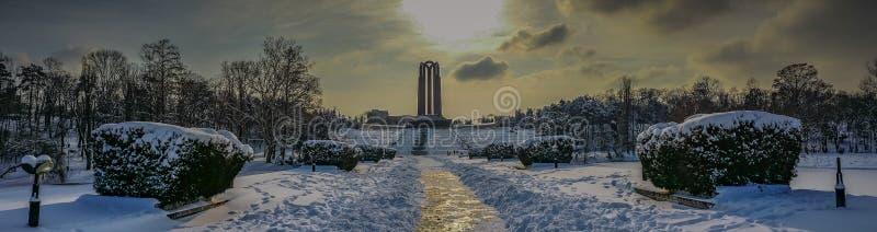 panorama artístico overfiltered da paisagem do inverno em Carol Park de Bucareste fotografia de stock royalty free