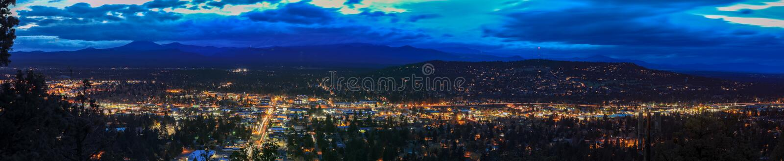Panorama, as seen from Bend from Pilot Butte Neighborhood Park, Oregon. Uniteds states stock photo