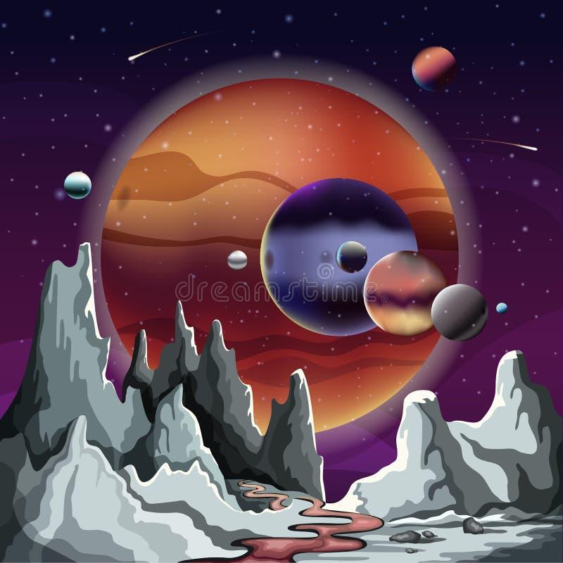 Panorama astronômico do planeta com terreno e céu ilustração stock