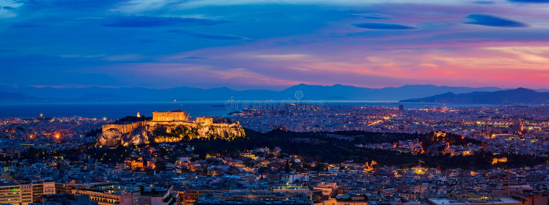 Panorama Ateny, Grecja, przy półmrokiem fotografia stock