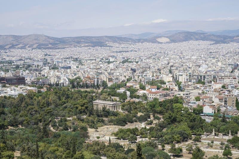 Panorama Ateny z widokiem świątynia Hermes w Grecja i agora fotografia stock