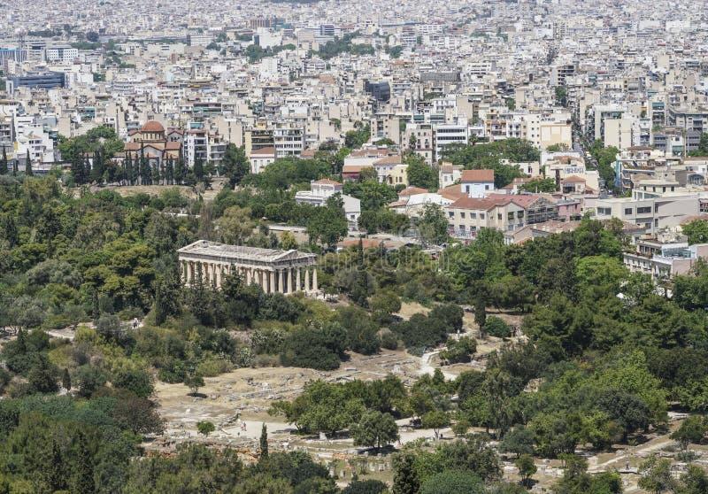 Panorama Ateny z widokiem świątynia Hermes w Grecja i agora zdjęcia royalty free