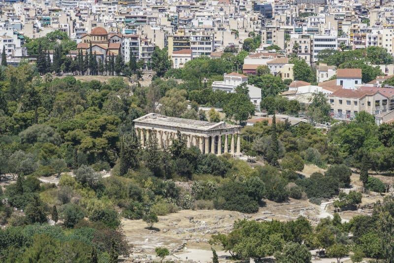 Panorama Ateny z widokiem agora i świątynia Hermes w Grecja obraz royalty free