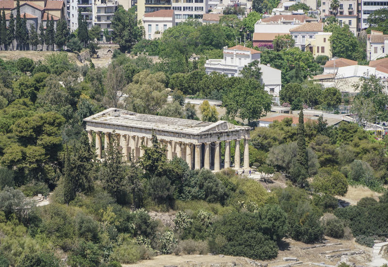 Panorama Ateny z widokiem agora i świątynia Hermes w Grecja zdjęcie stock