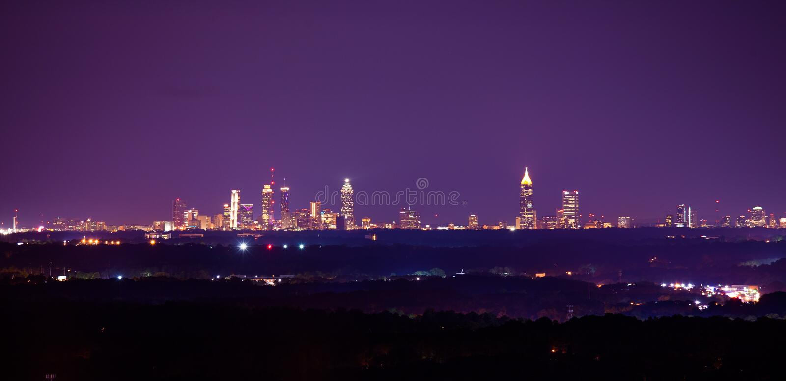 Panorama of Atlanta downtown in the evening royalty free stock photos