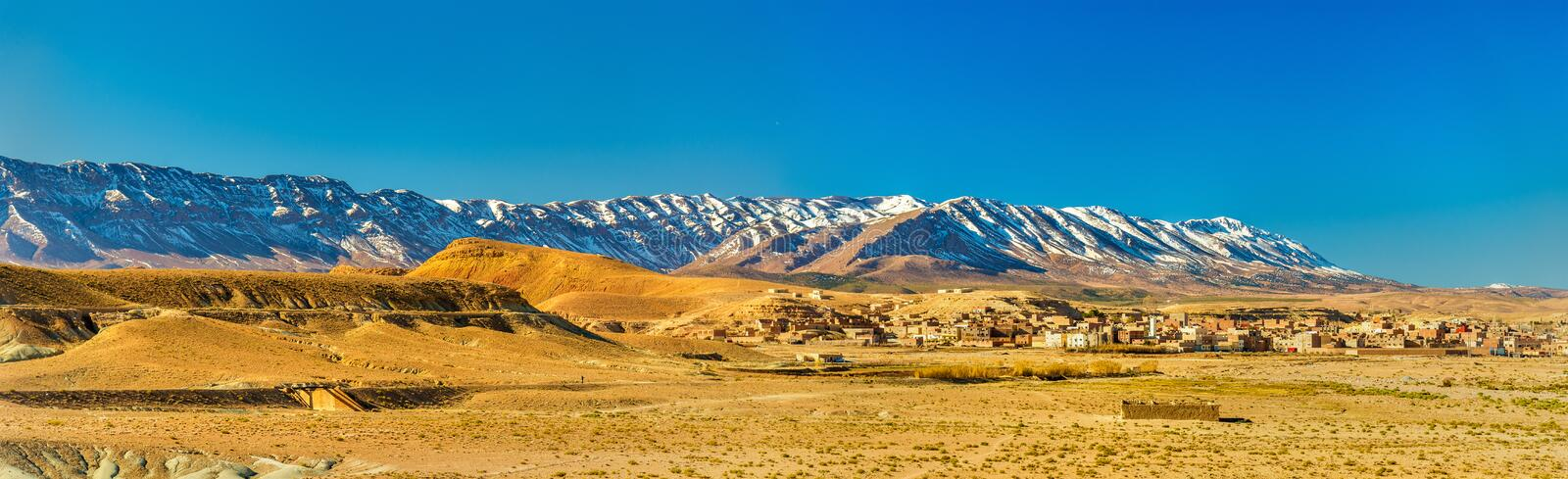 Panorama of the Atlas Mountains at Midelt, Morocco. Panorama of the Atlas Mountains at Midelt - Morocco royalty free stock photo