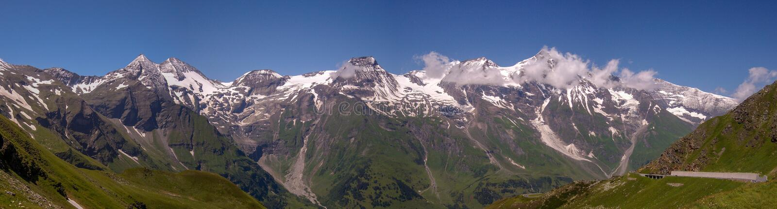 Panorama of the Austria Alps from the Grossglockner high Alpine Road stock images